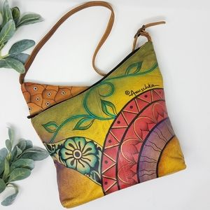 ANUSCHKA Hand Painted Floral Tulip Leather Bag